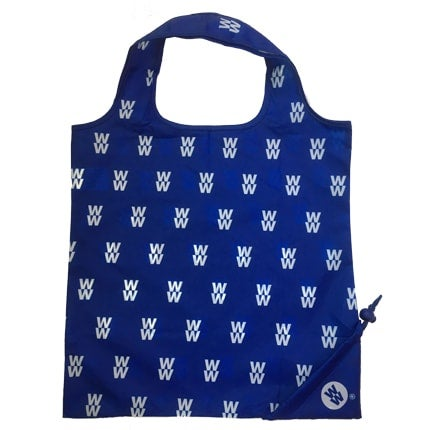 WW Foldaway Tote Bag, made from 3 recycled plastic bottles, ideal for shopping and travelling, small enough to keep in your pocket, colour blue