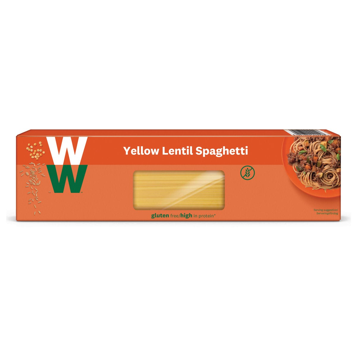 WW Yellow Lentil Spaghetti, made from yellow lentil and brown rice flour, alternative to regular spaghetti, gluten free, high in protein, suitable for vegans