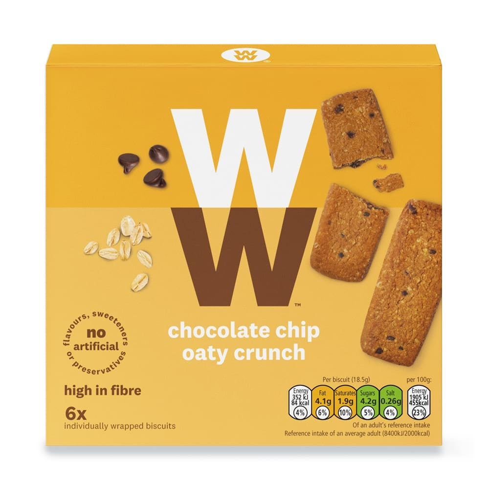 Box of 6, WW Chocolate Chip Oat Biscuits, individually wrapped, crispy oat biscuits, over 12% chocolate pieces, 3 SmartPoints values, suitable for vegetarians
