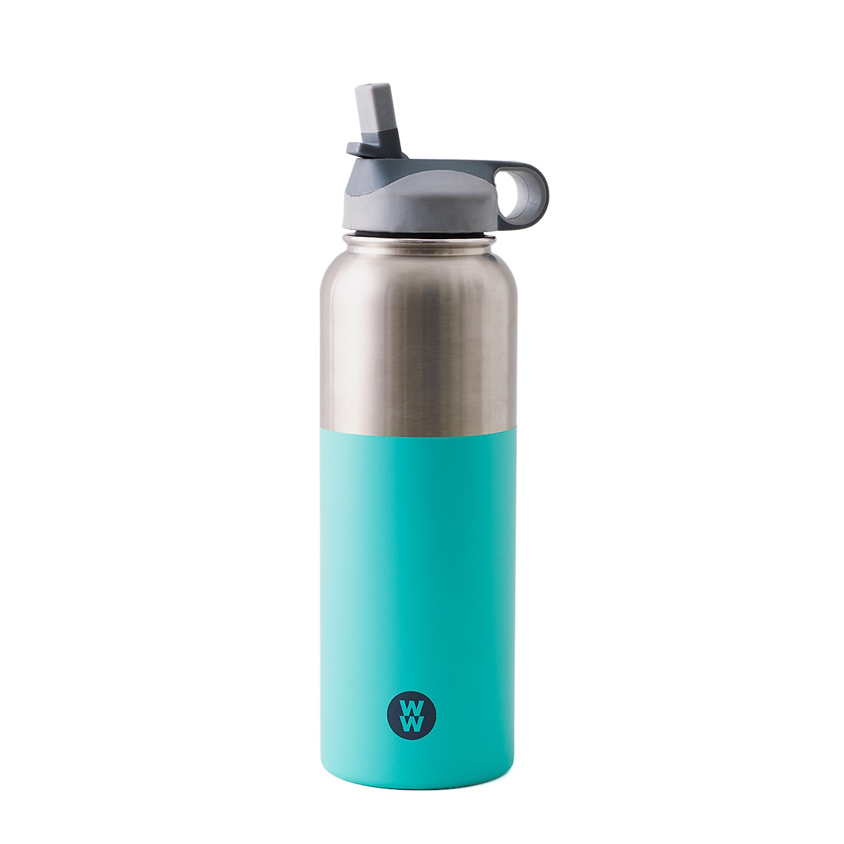 WW 38.5oz  BPA-free plastic green and silver water bottle, , copper core lining Hydration Bottle, Keeps drinks hot for up to 8 hours, keeps drinks cold for up to a full day, vacuum sealed, hand wash only