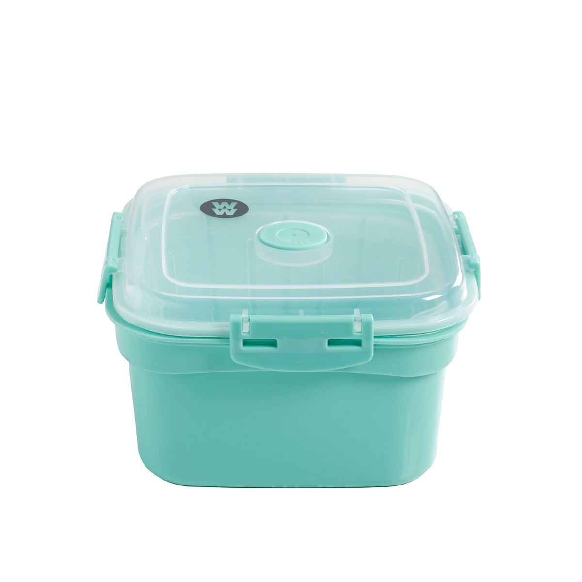 Microwave BPA-free plastic green Steamer To-Go, 68 ounces capacity, dishwasher safe, with vented lid and side locks.