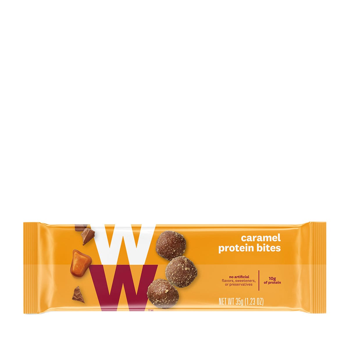 Caramel Protein Bites - front of pack, 3 bites per pack