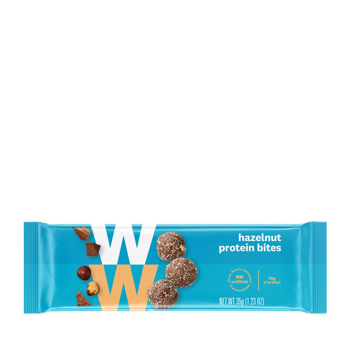 Hazelnut Protein Bites - front of pack, 3 bites per pack