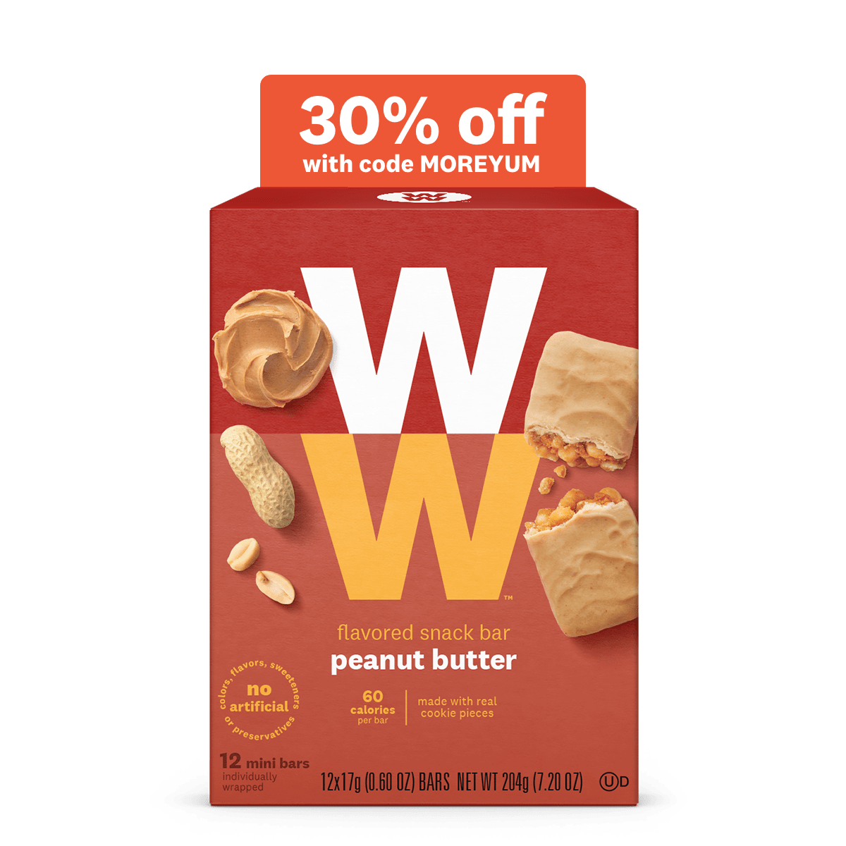 Peanut Butter Mini Bar Value Pack (36 Individually wrapped Bars) 2 points, 60 calories per bar, no artificial flavors, colors, sweeteners, or preservatives. kosher.