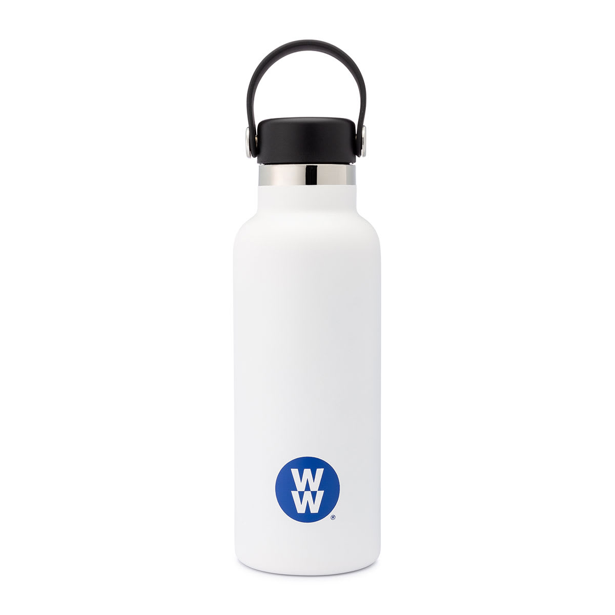 17 oz White Canteen Water Bottle, standard-mouth opening, Double-wall vacuum insulation, , Stainless steel construction.