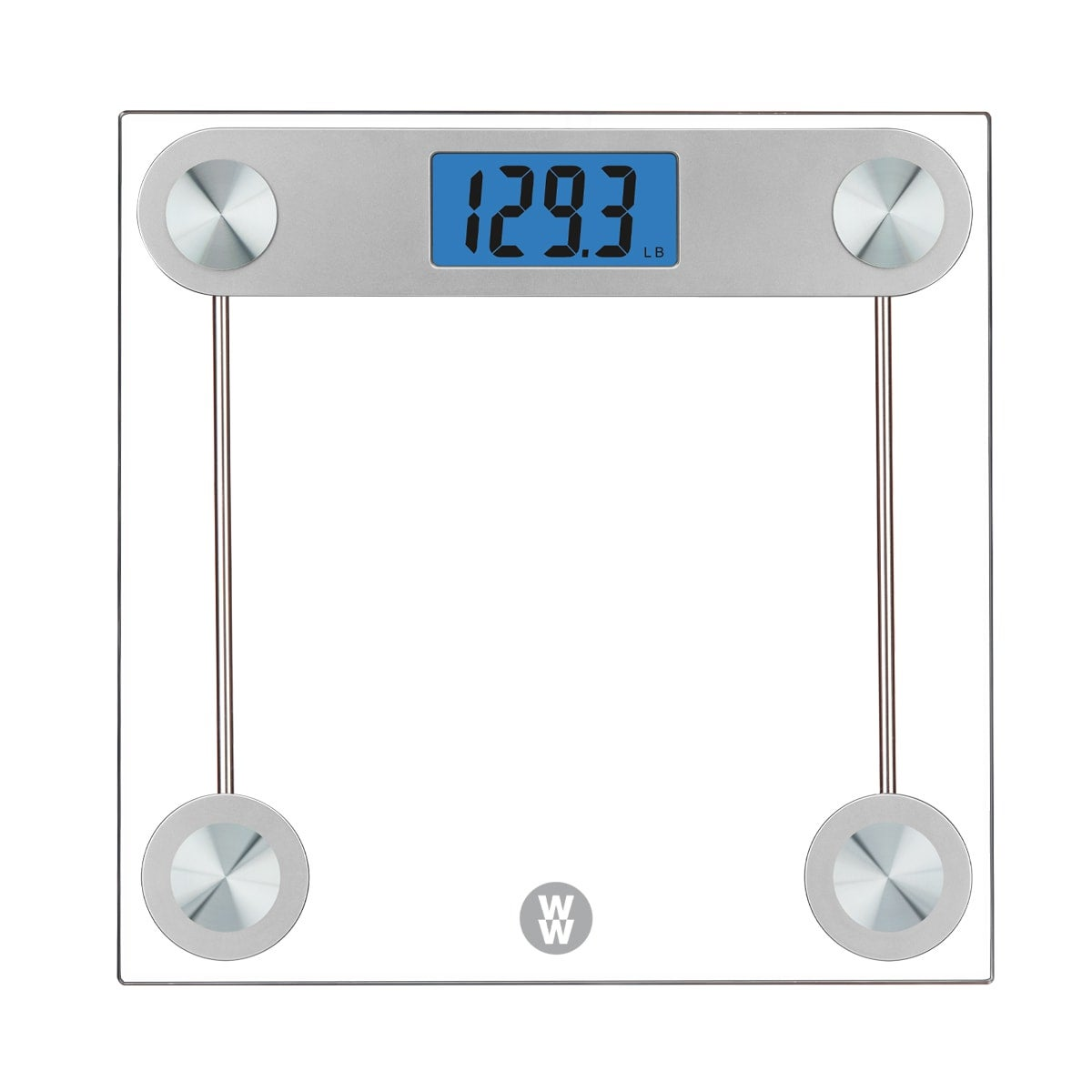 WW Scales By Conair Digital Glass Large 1.5 - inch LCD  blue backlight, includes  3 AAA alkaline batteries, Capacity: 400 lb Tempered Safety Glass with Stainless Steel Silver Finish Platform Size: 11.8 x 11.8 inches