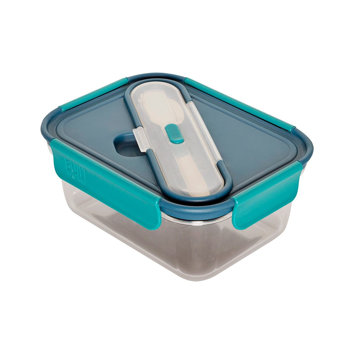 5 piece Bento Plastic Lunch Container with full-size utensils made of solid 18/10 Stainless Steel adn  break-resistant polypropylene lid that locks in place.