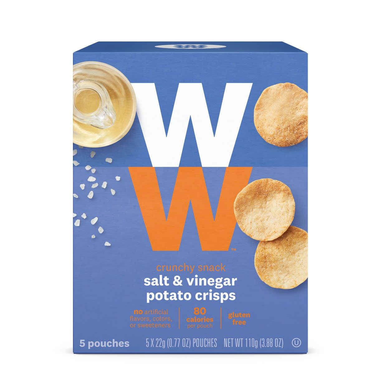 Salt and Vinegar Potato Crisps,  front of box, 80 calories, 5 pouches, gluten free crunchy snack