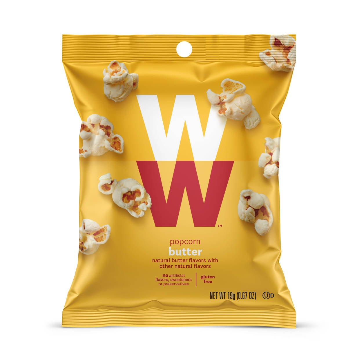Butter popcorn - front of bag, 6 pouches, natural butter flavor, gluten free