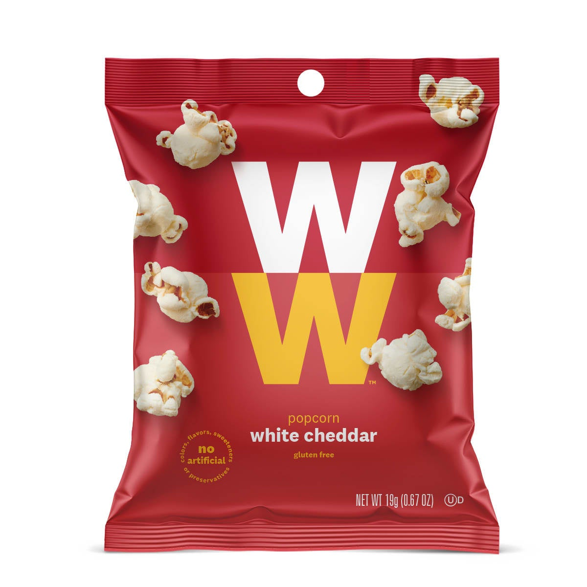 White Cheddar Popcorn - Pack of 6, front of bag, gluten free, no artificial flavors