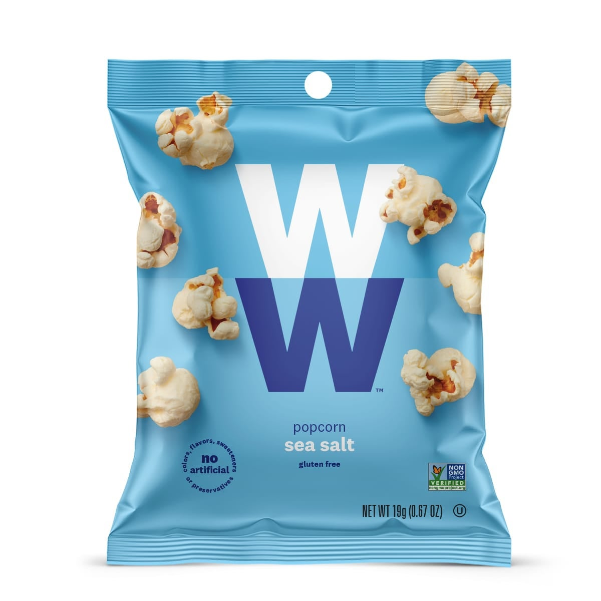 Sea Salt Popcorn - Pack of 6, front of bag, no artificial flavors