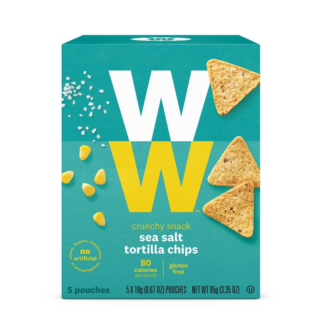 Sea Salt Tortilla Chips, front of box, 80 calories, gluten free