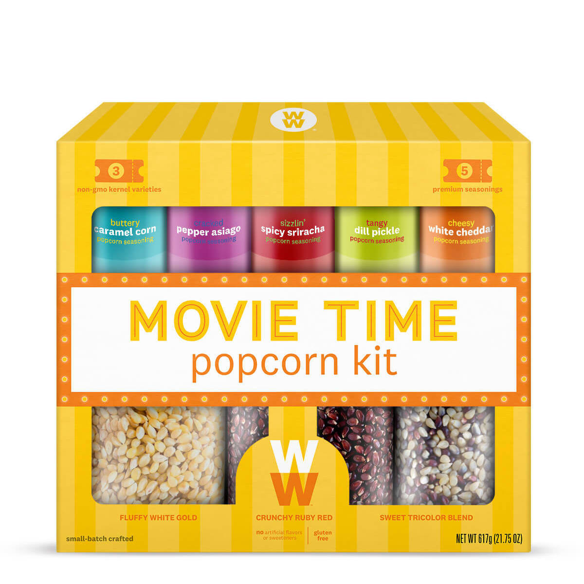 Movie Time Popcorn Kit, front of box, kernel and spice set