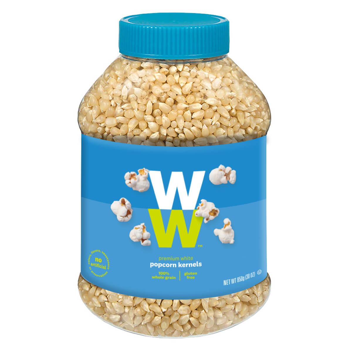 Premium white popcorn kernels, jar of kernels, gluten free, 100% whole grain