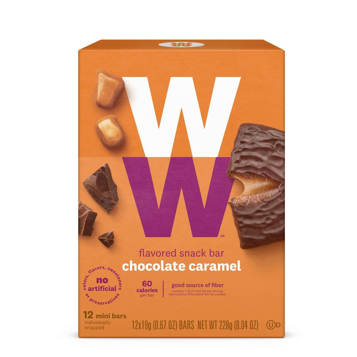 Front of box, chocolate caramel mini bar, 60 calories, 12 bars, good source of fiber