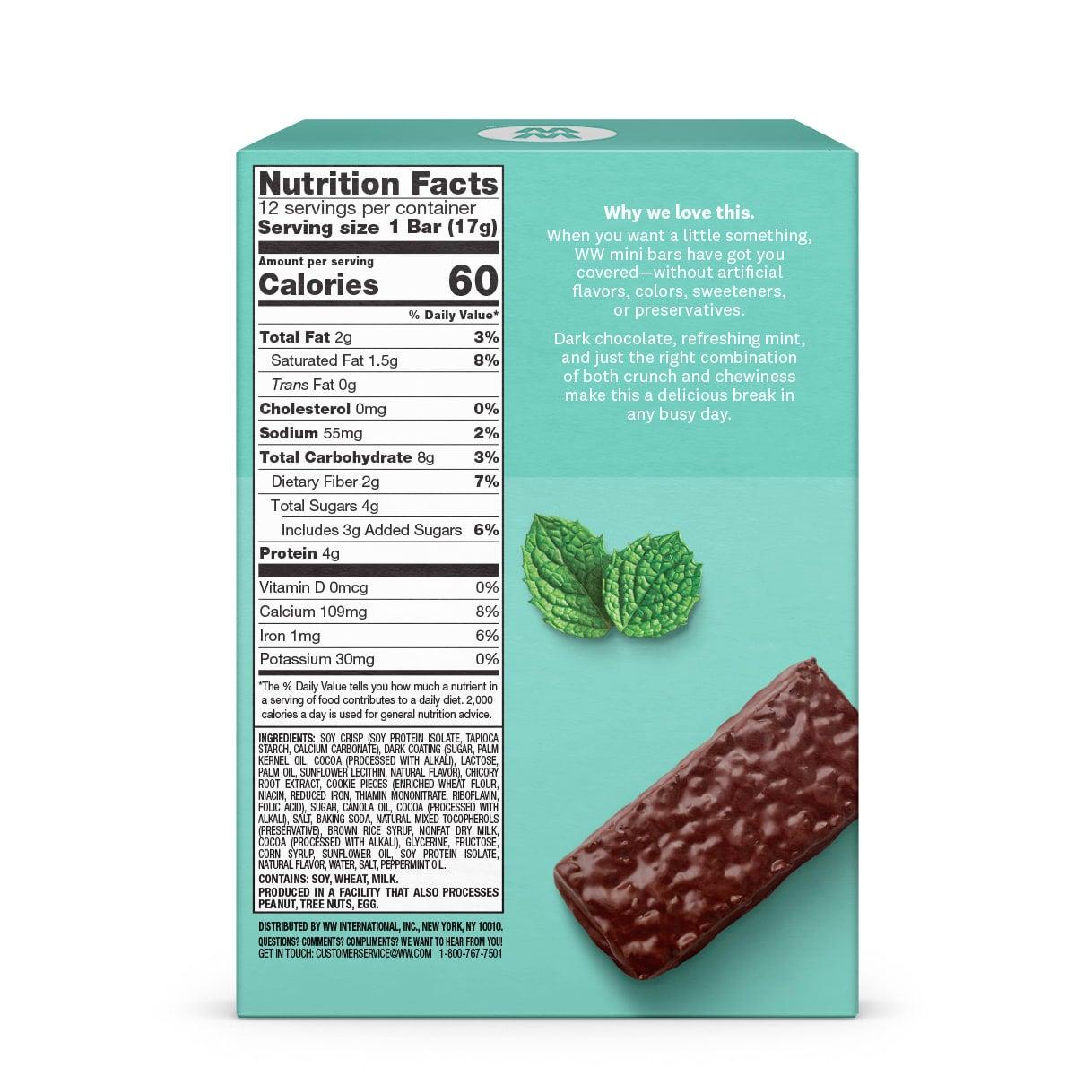 Mint Cookie Crunch Mini Bar - back of box