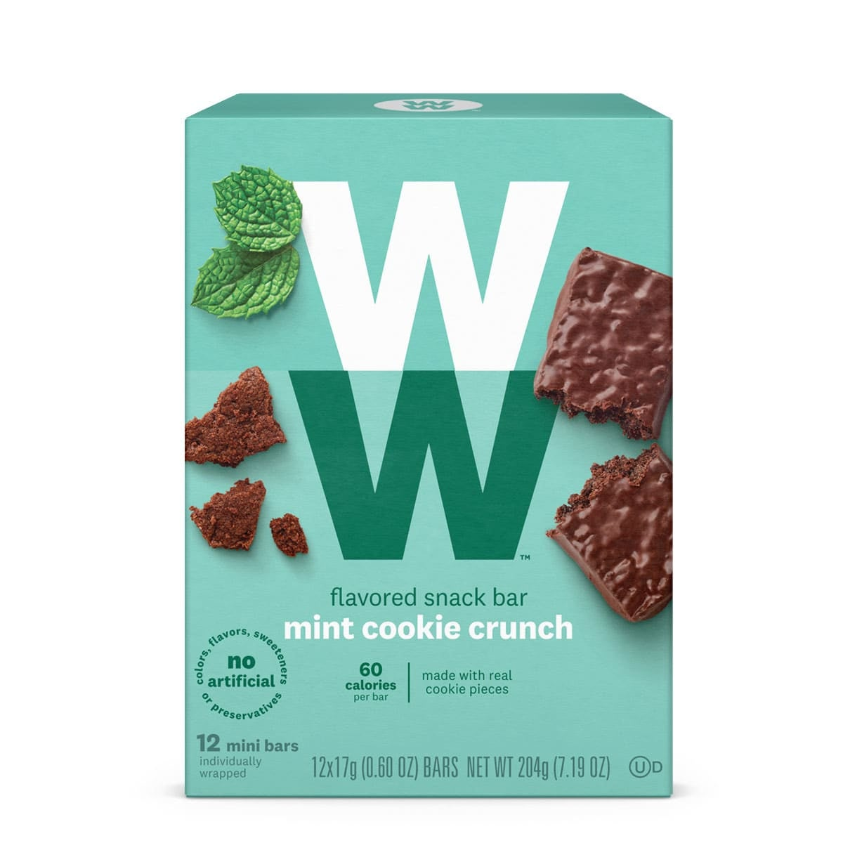 Front of box, mint cookie crunch mini bars, 60 calories, 12 bars,  made with real cookie pieces