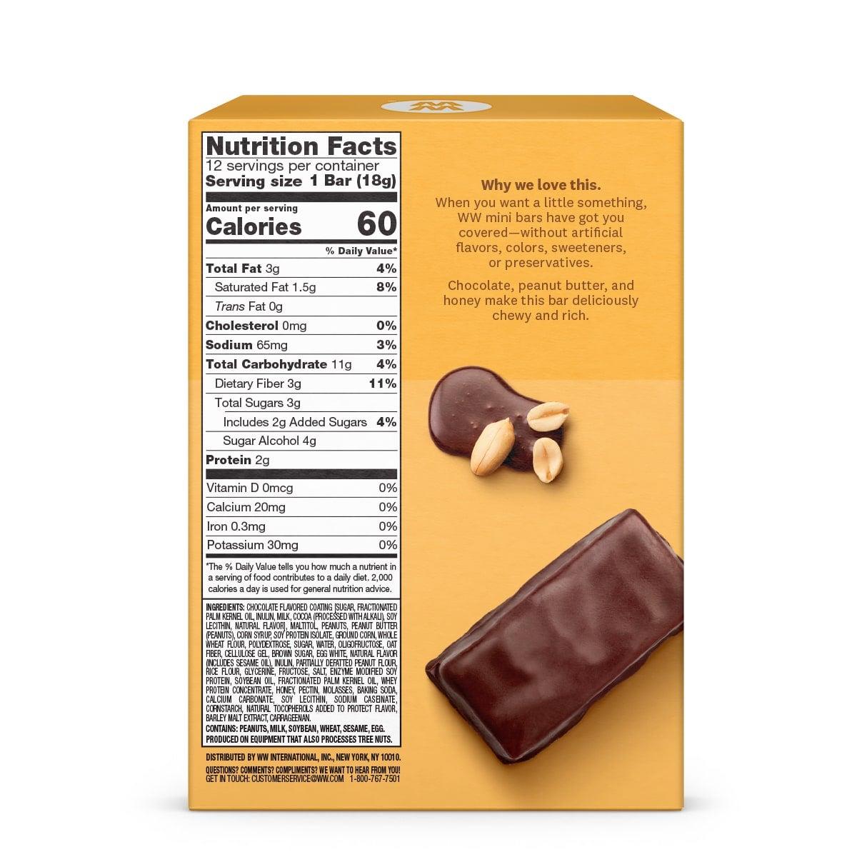 Chocolate Peanut Butter Pie Mini Bar - back of box
