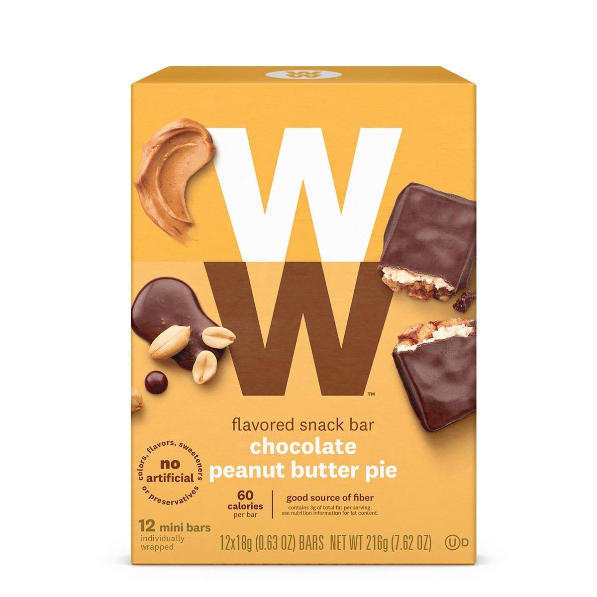 Front of box, peanut butter pie mini bars, 60 calories, 12 bars,  good source of fiber