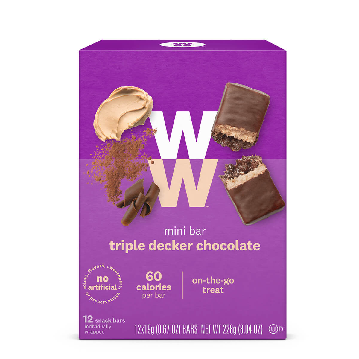 Triple Decker Mini Bar, front of box, 60 calories, 12 bars, on the go treat