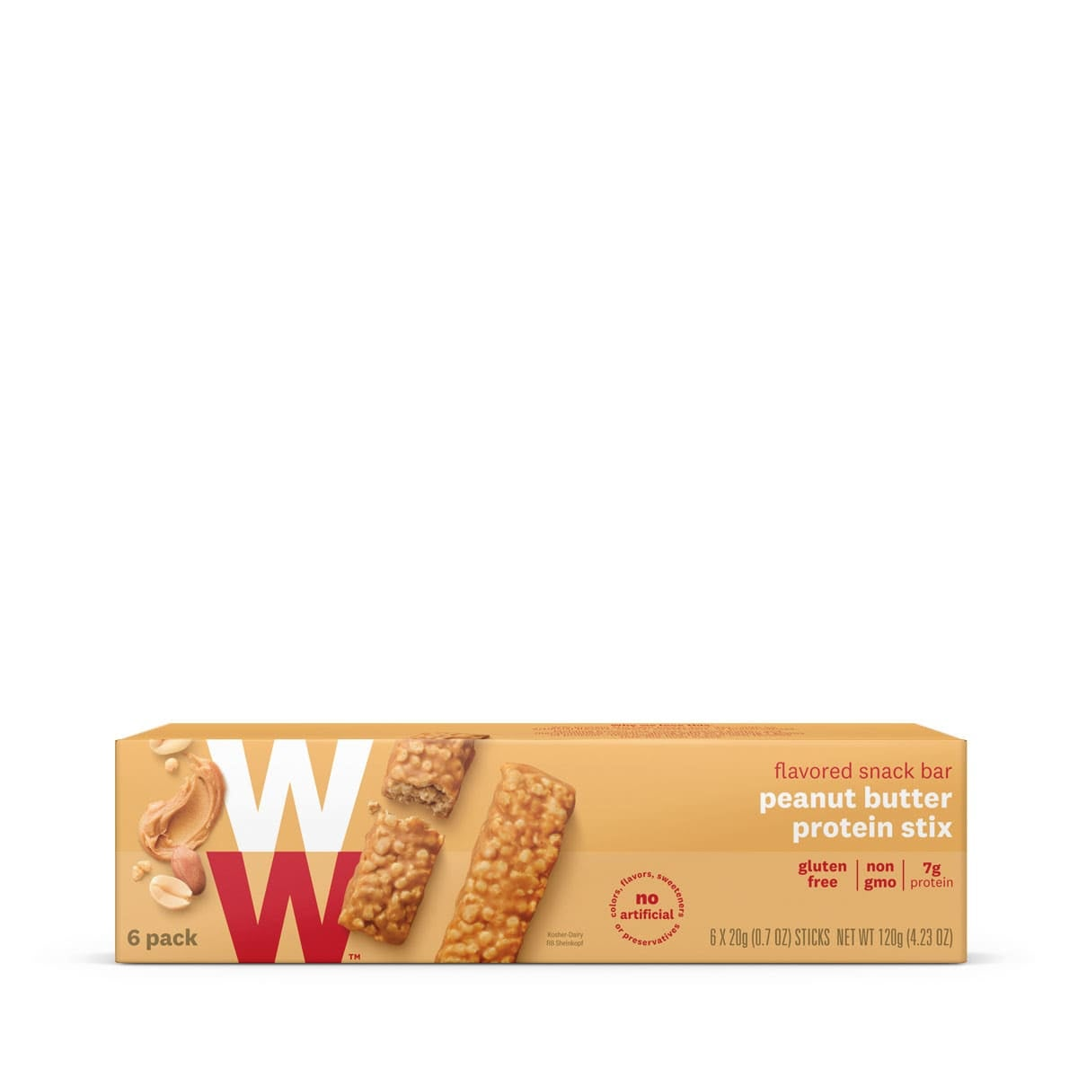 Peanut Butter Protein Stix, front of box, 6 pack, gluten free, non gmo, 7g of protein