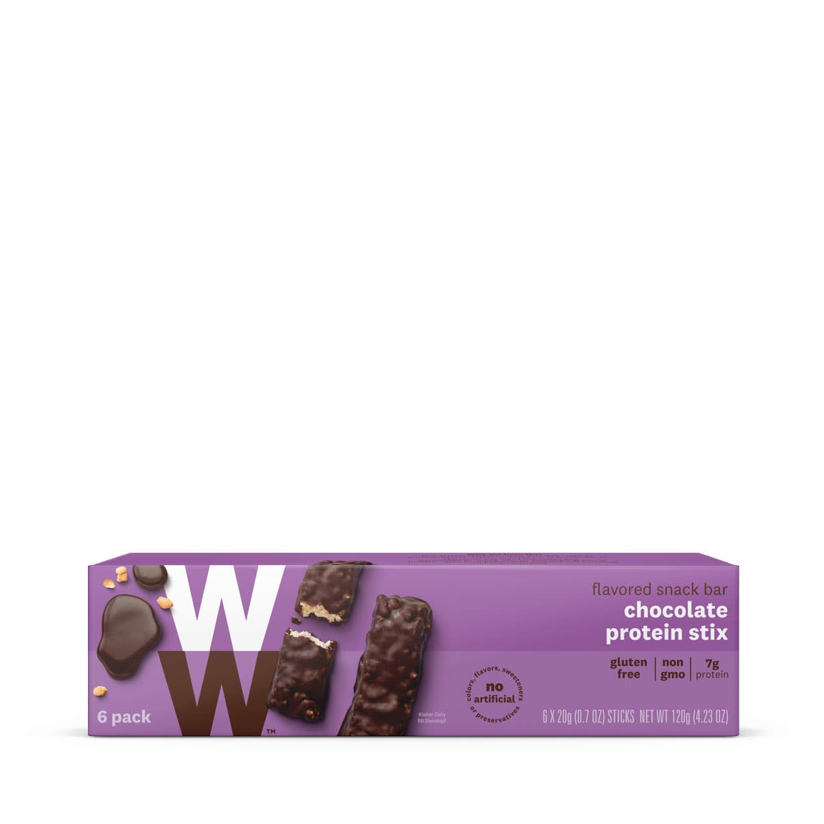 Chocolate Protein Stix, front of box, 6 pack, gluten free, 7g of protein
