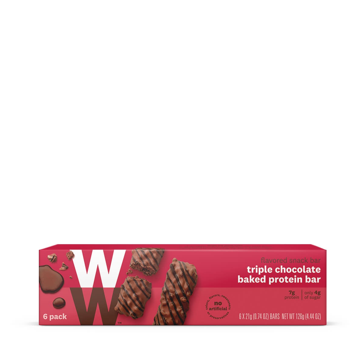 Triple Chocolate Baked Protein Bar, front of box, 6 pack, 7g of protein, only 4g of sugar