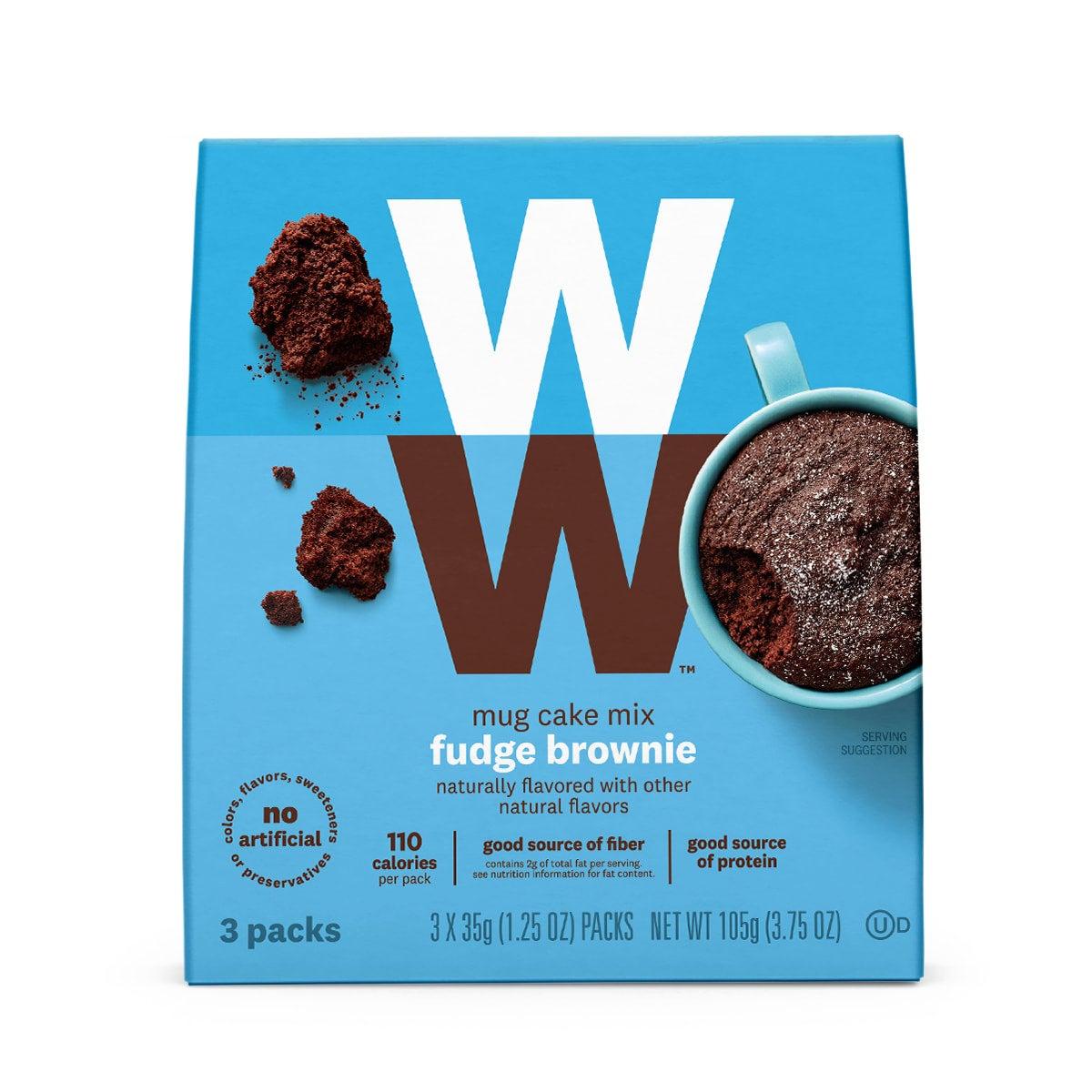 Fudge Brownie Mug Cake Mix, 110 calories, good source of protein, 3 pouches