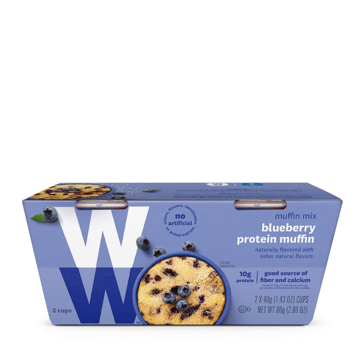 Blueberry Protein Muffin Mix, front of box, 2 cups per box, 10g of protein, good source of fiber and calcium