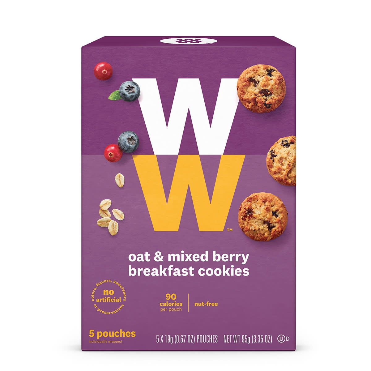 Oat and Mixed Berry Breakfast Cookies, front of box, 5 pouches, 90 calories, nut free