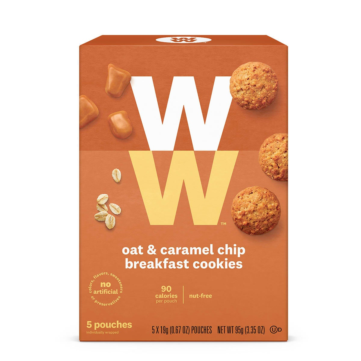 Oat and Caramel Chip Breakfast Cookies, front of vox, 5 pouches, 90 calories, nut free