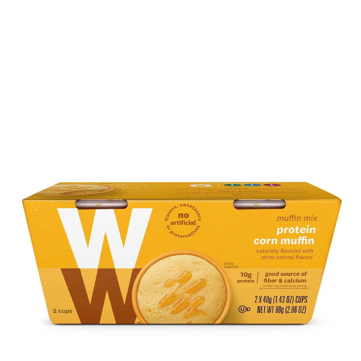 Protein Corn Muffin, front of box, 2 cups, 10 grams of protein, good course of fiber and calcium