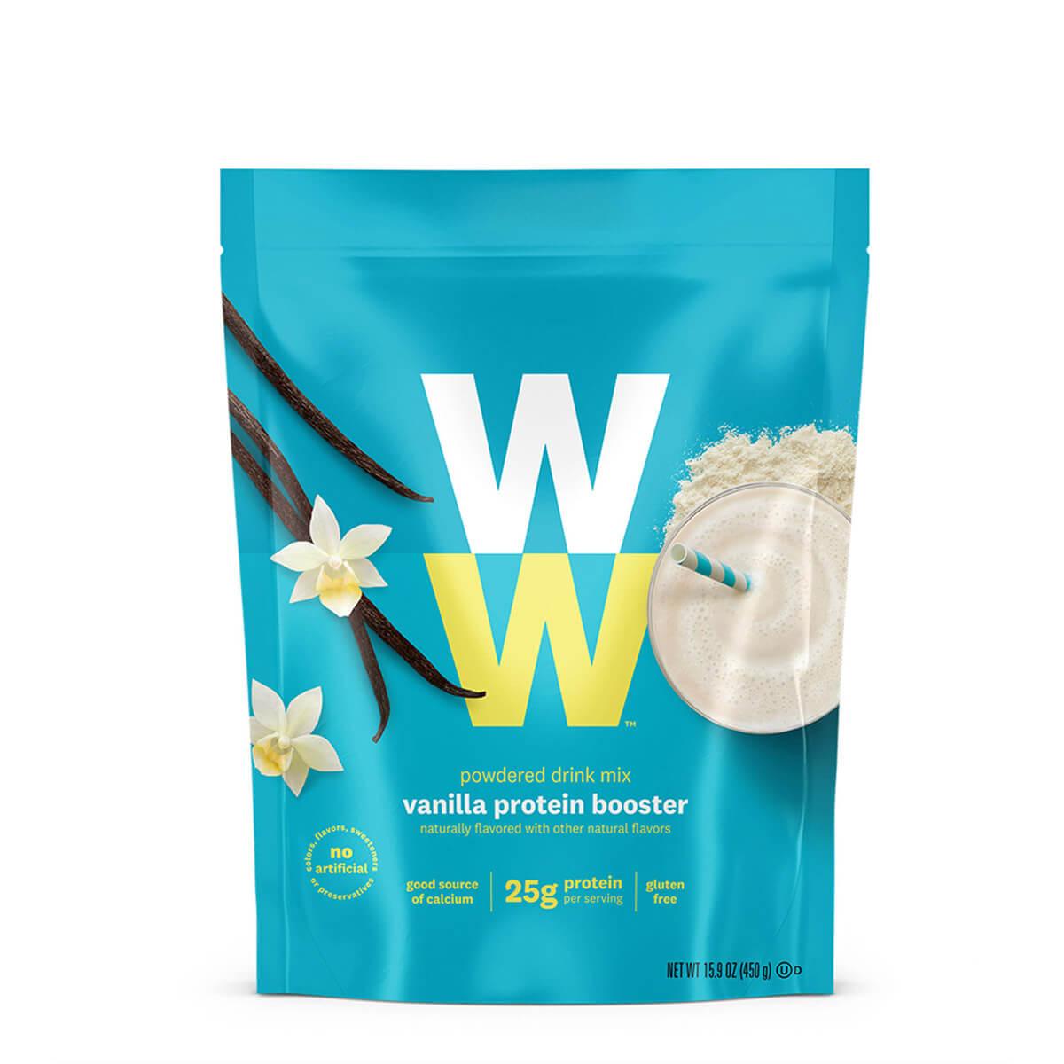 Vanilla Protein Booster, front of bag, 25g of protein, powdered drink mix, gluten free