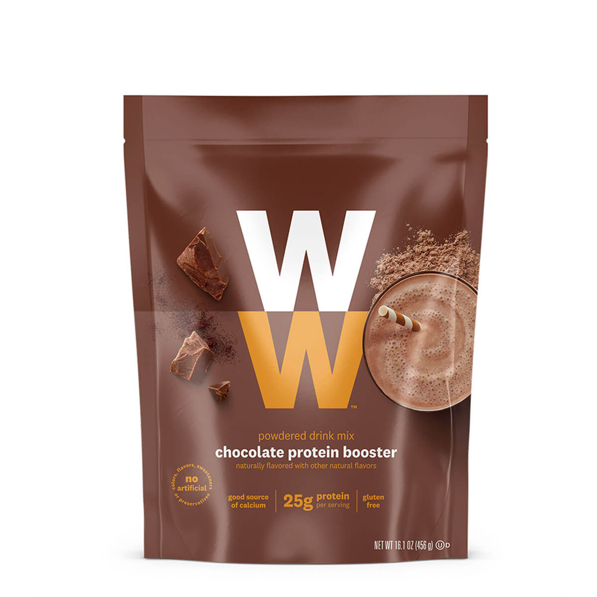 Chocolate Protein Booster, front of bag, powdered drink mix, 25g of protein, gluten free