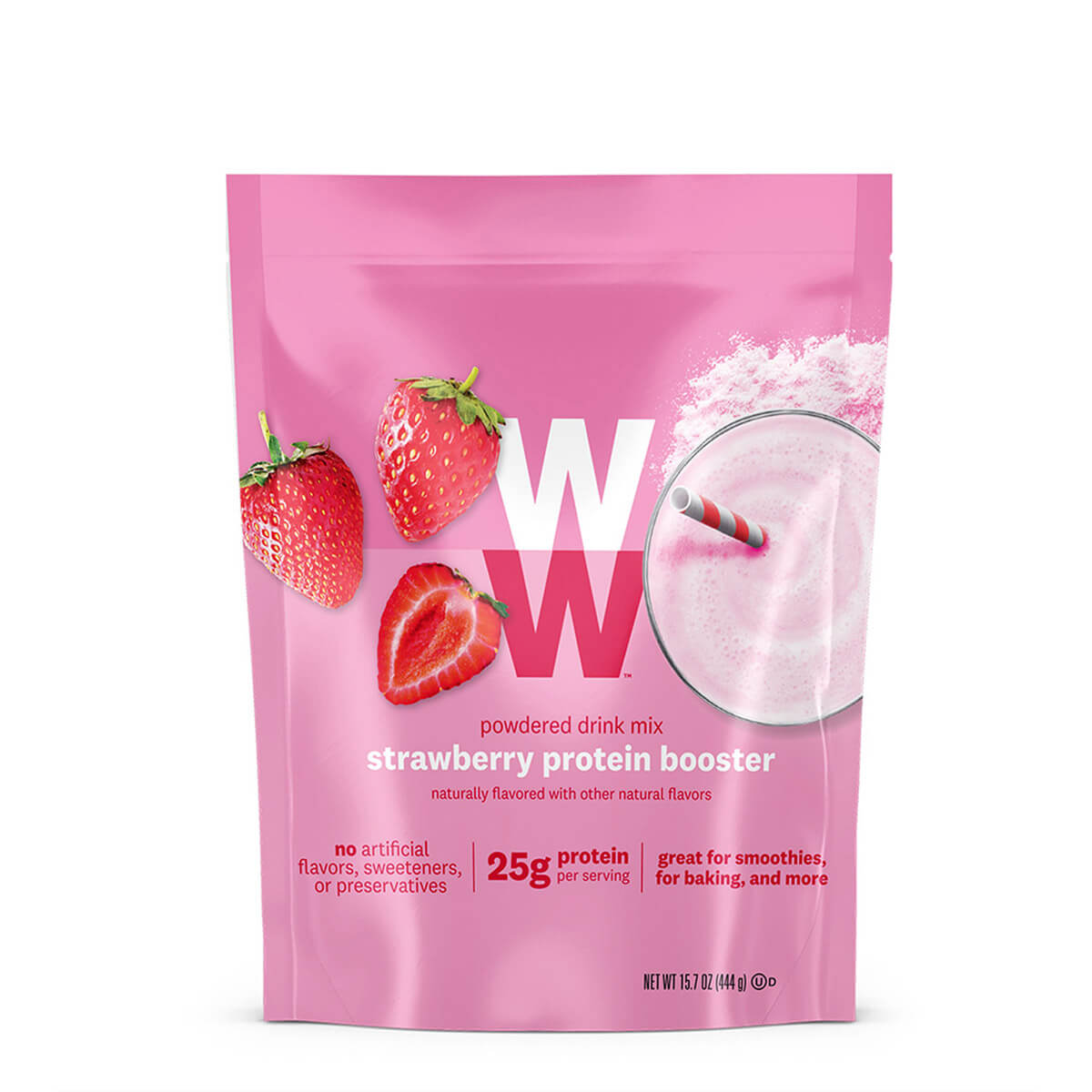 Strawberry Protein Booster, front of bag, powdered drink mix, 25g of protein, great for smoothies and baking