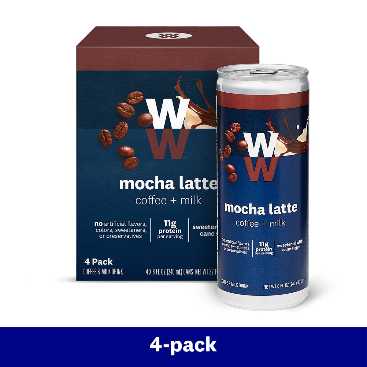 Mocha Latte - 4 Pack, box and can, 11 grams of protein per can, sweetened with cane sugar