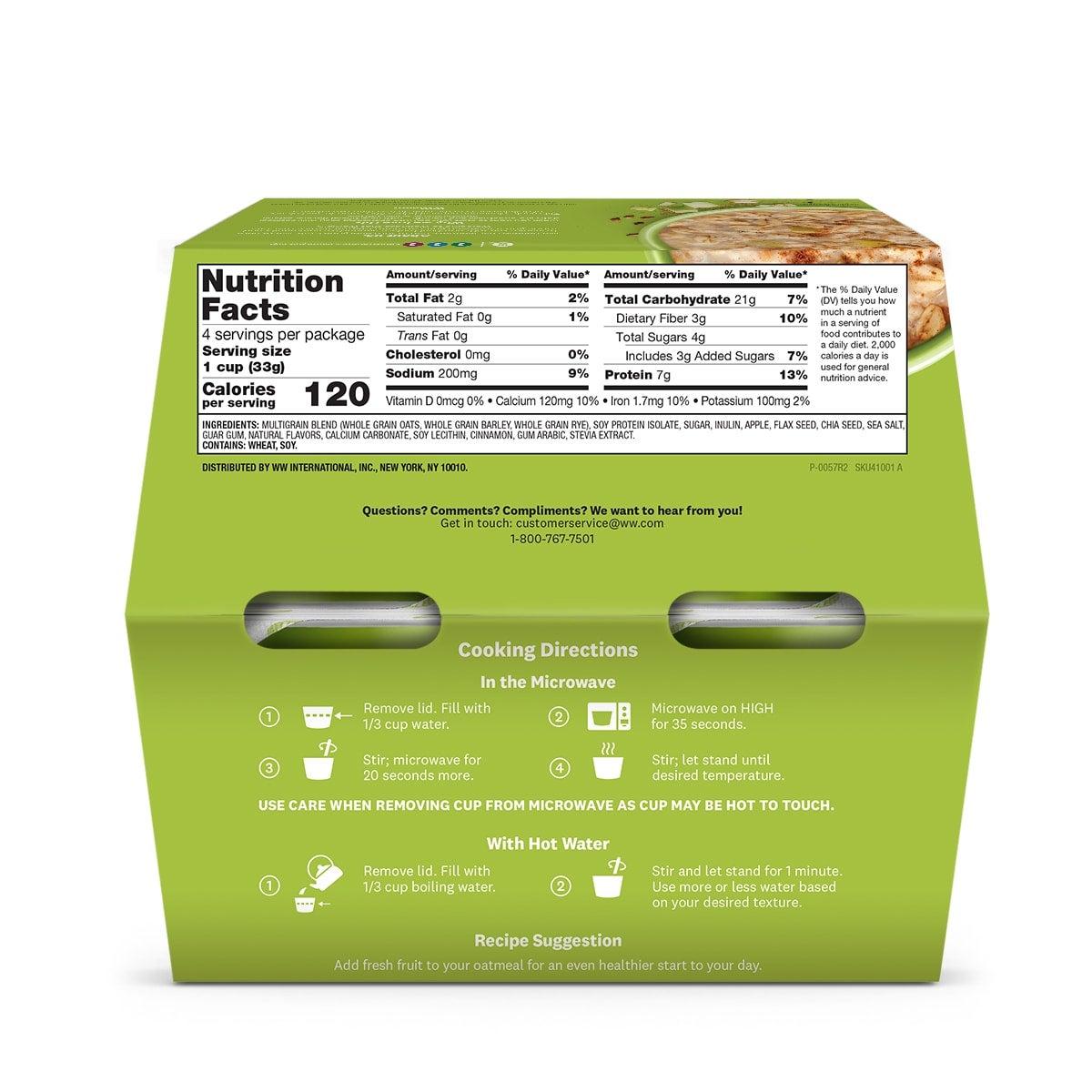 Apple Cinnamon Oatmeal - back of box