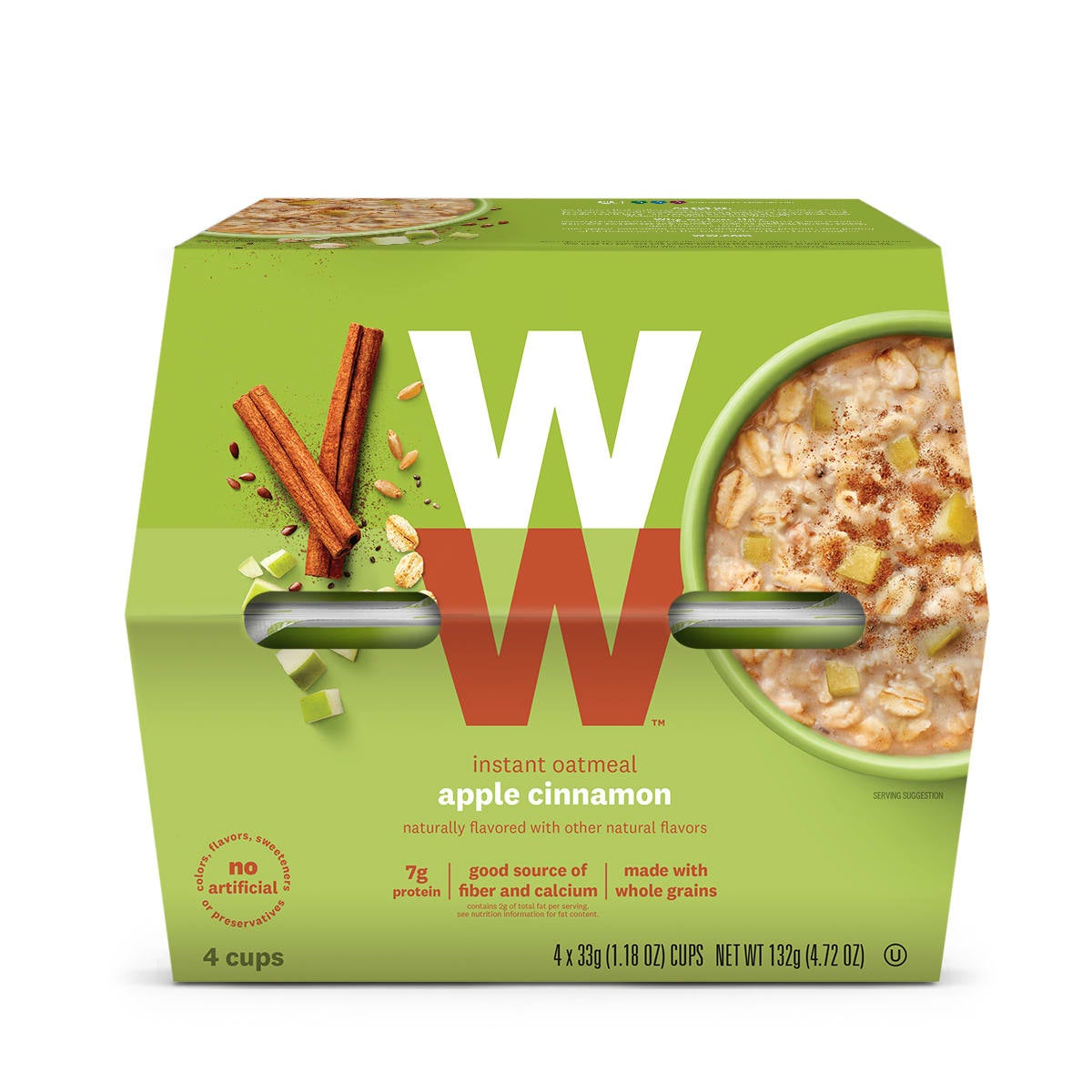 Apple Cinnamon Oatmeal, front of box, 4 cups, 7g of protein, good source of fiber and calcium, made with whole grains