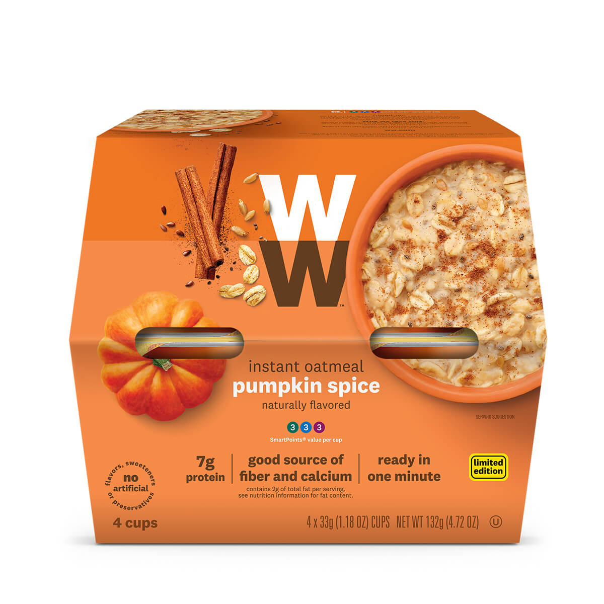 Pumpkin Spice Oatmeal, 7g of protein, good source of fiber and calcium