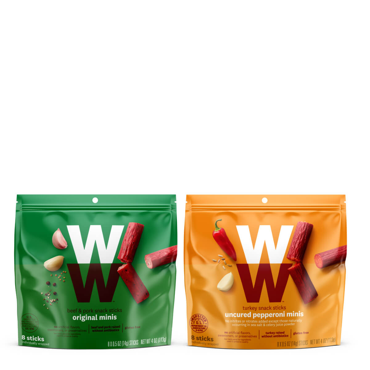 WW Meat Snack Sticks Duo, includes 2 packs of WW Turkey Pepperoni Snack Sticks and 2 packs  Original Beef & Pork Snack Sticks, 1 point per serving (2 sticks), 4 servings per pack.
