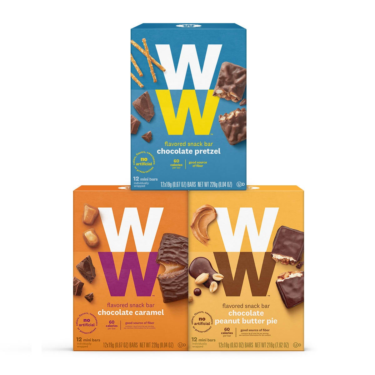 Chocolate Snack Bar Variety Pack, front of boxes, 3 box pack, 1 chocolate pretzel, 1 chocolate caramel, 1 peanut butter pie