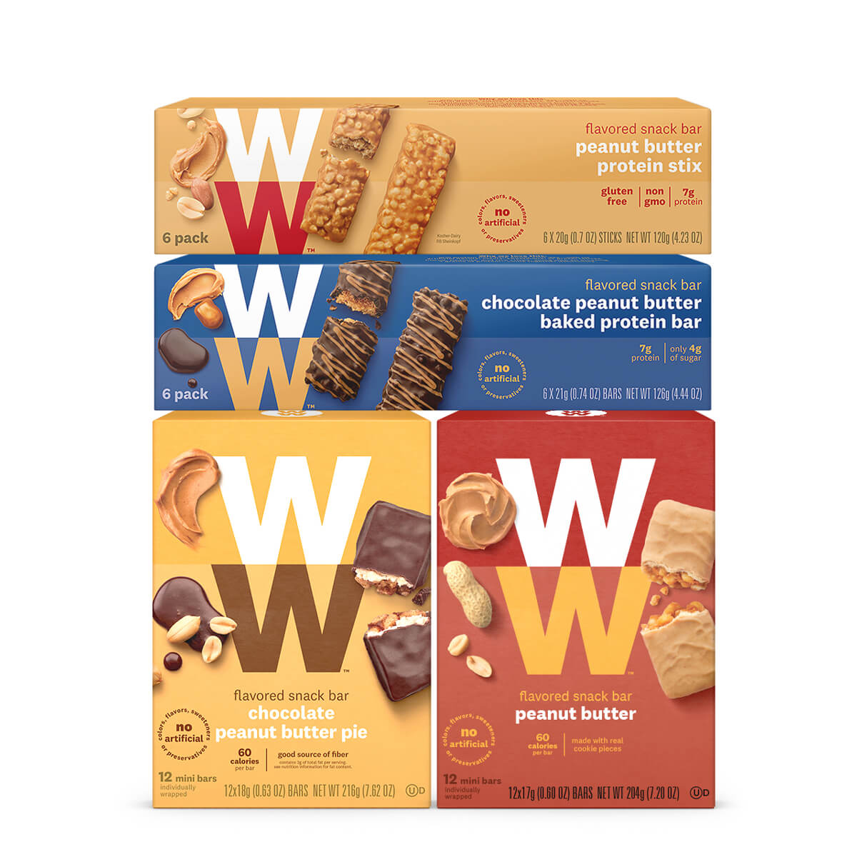 Peanut Butter Lovers Variety Pack, front of boxes, 4-pack set of various peanut butter bars