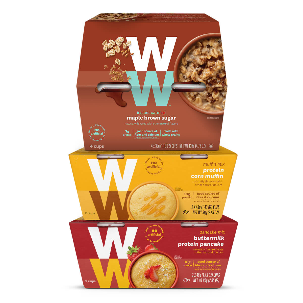 Breakfast Trio Variety Pack, front of boxes, 1 box of maple brown sugar oatmeal, 1 box of protein corn muffins, 1 box of buttermilk protein pancakes