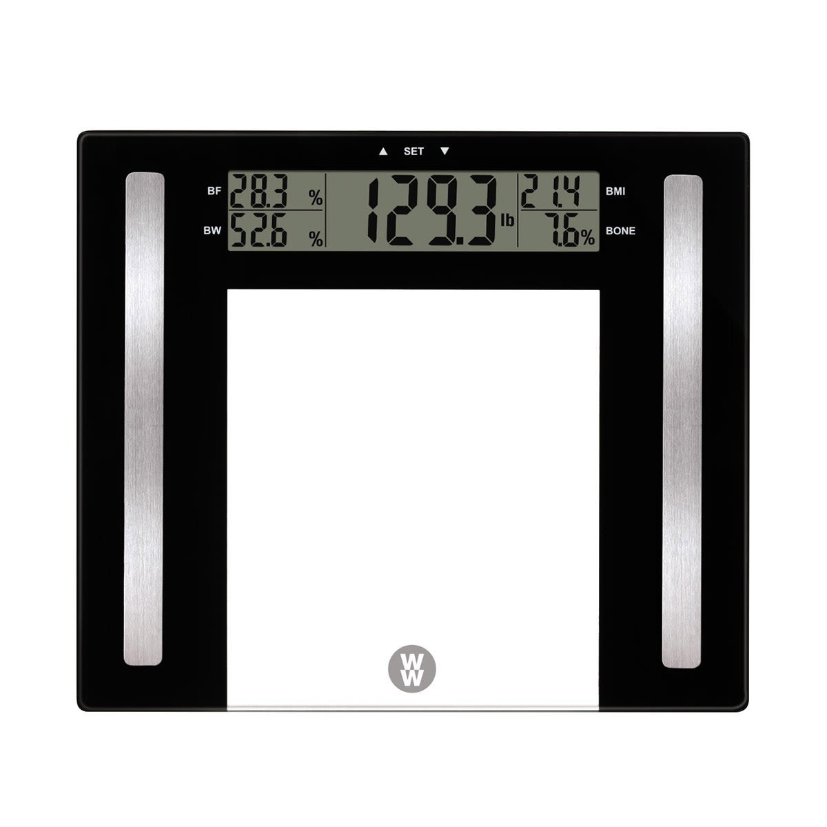 WW Body Analysis Blacks Scale with LCD screen, Calculates weight, body fat, body water/hydration, body mass index (BMI), and bone density, 400 pound capacity, includes 2 x CR2032 lithium batteries, push button to function,