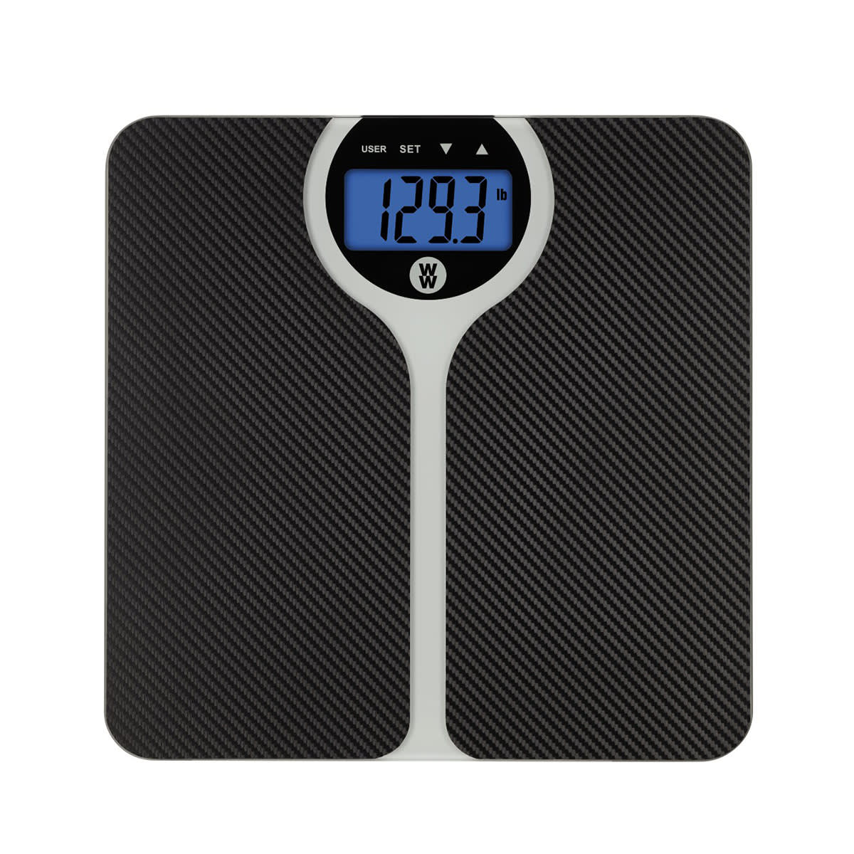 WW Digital Weight Scale with backlight and a Textured surface provides traction, Toggle button to switch between pounds and kilograms, 400-lb weight capacity, Measures body weight and body mass index (BMI).