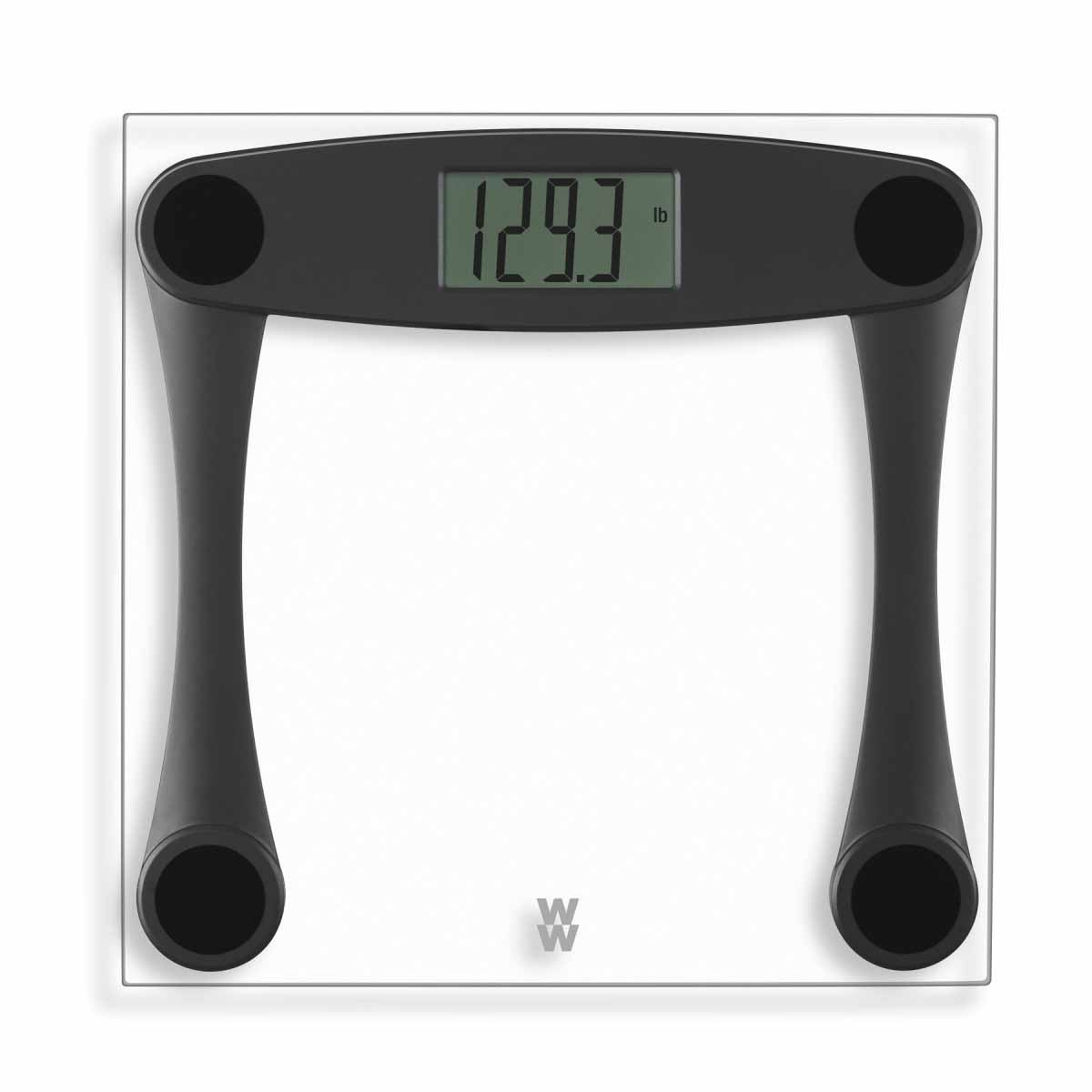 WW Conair Digital Glass Clear and Black Scale, Large 1.5-inch digital LCD readout, includes a long-lasting lithium battery , Weight capacity of 400 pounds, tap to operate, 1.9-inch-square frame.