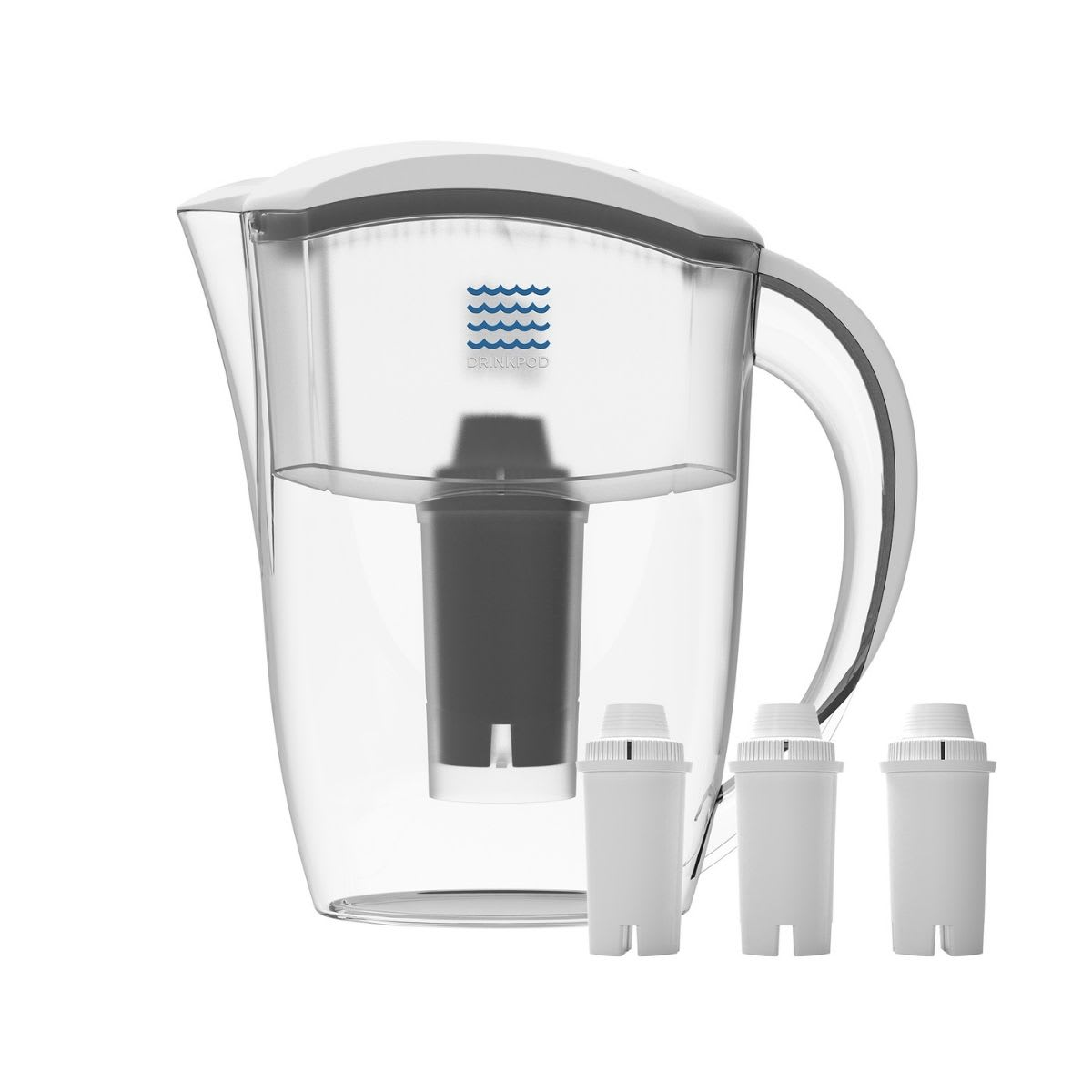 Water pitcher with white top. Comes with three water filters.