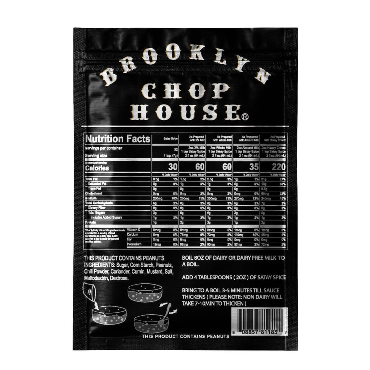 Brooklyn Chop House Satay Sauce, back of pack, 8oz, nutrition panel
