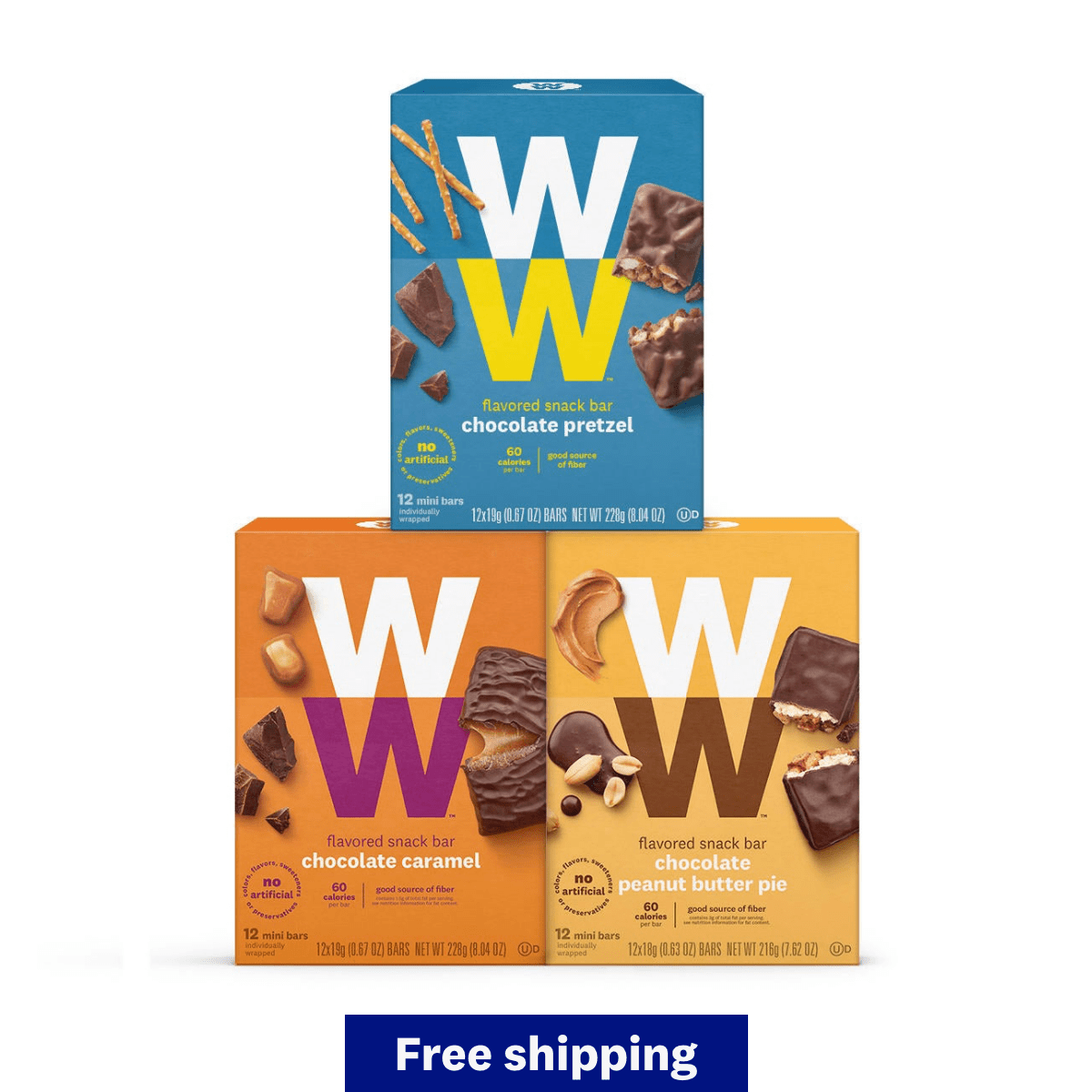 Chocolate Snack Bar Surpreme Six Pack - chocolate pretzel, chocolate caramel, chocolate peanut butter pie boxes, qualifies for free shipping