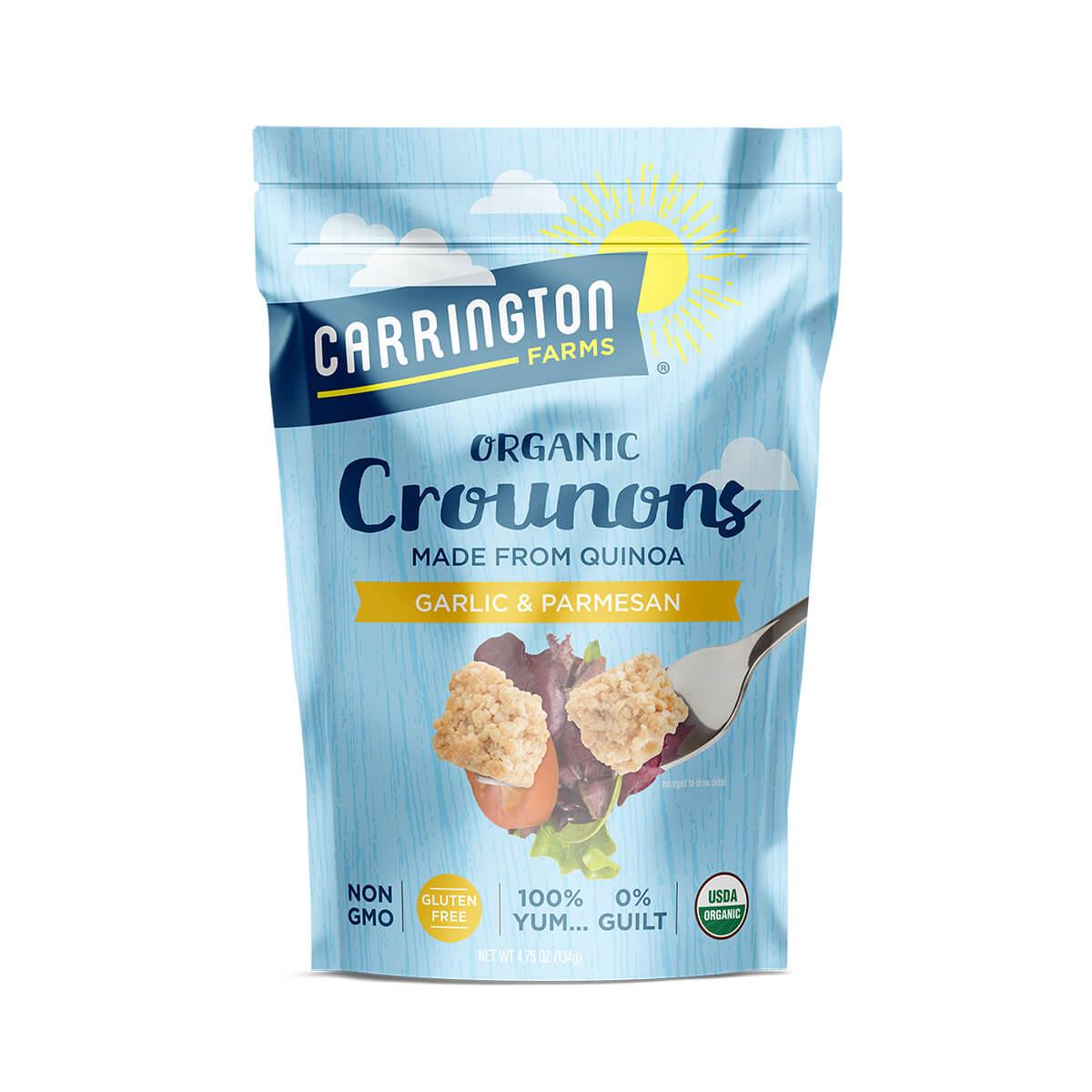 Carrington Farms Garlic & Parmesan Crounons, front of bag, made from quinoa, non gmo, gluten free